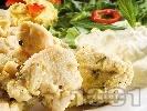 Рецепта Мариновано пилешко месо задушено с алабаш и пащърнак